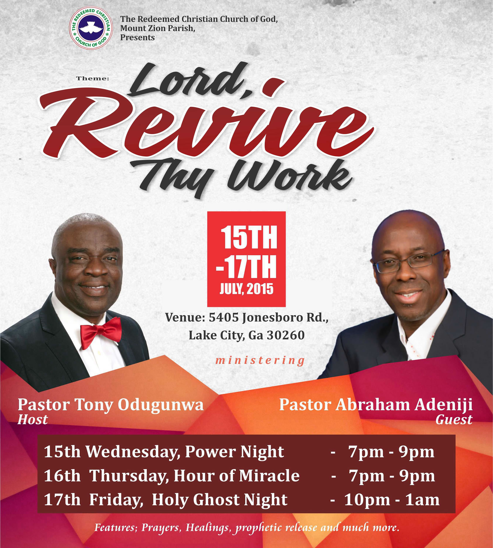 Day 1 Of Revival Program Tagged Lord Revive Thy Work